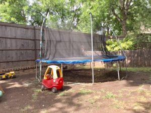 Backyard and Trampoline